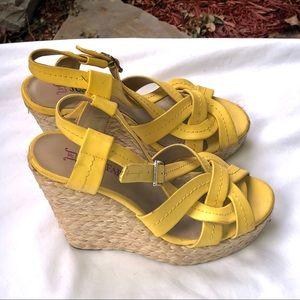 Just Fab Yellow Wedge Platform Heels Sandals 6.5